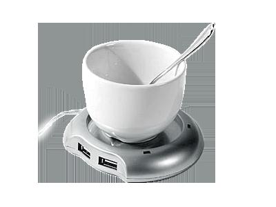 USB-хаб: нагреватель, чашка, ложка