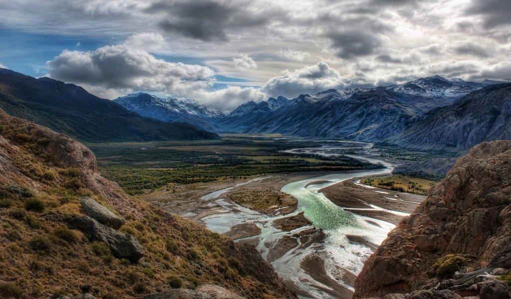красивые горы анды 1024х600 обои