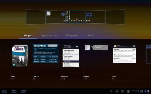 виджеты Samsung Galaxy Tab 10.1