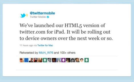 Twitter HTML 5 iPad