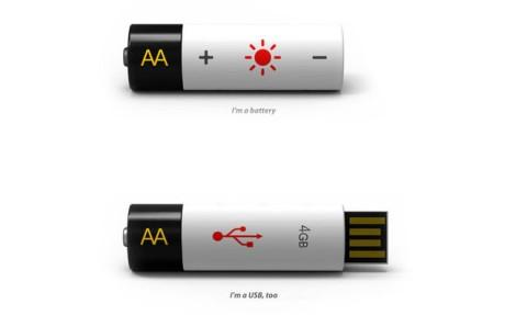 USB Flash Drive AA Battery Concept