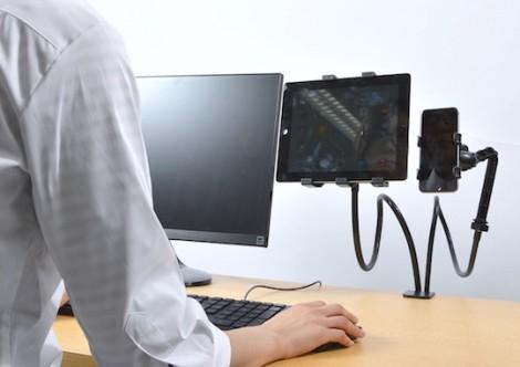 thanko-smartphone-tablet-dual-holder-arm-desktop-3