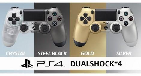 Steel-Gold-Silver-And-Transparent-PS4-Controllers