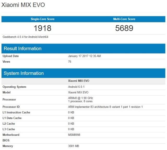 Утечка: характеристики неанонсированного Xiaomi MIX EVO